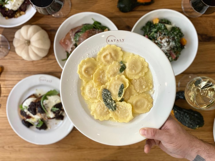 ravioli and fall dishes at Eataly Chicago