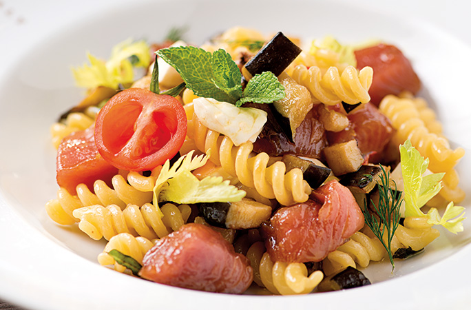 Italian pasta salad with fusilli