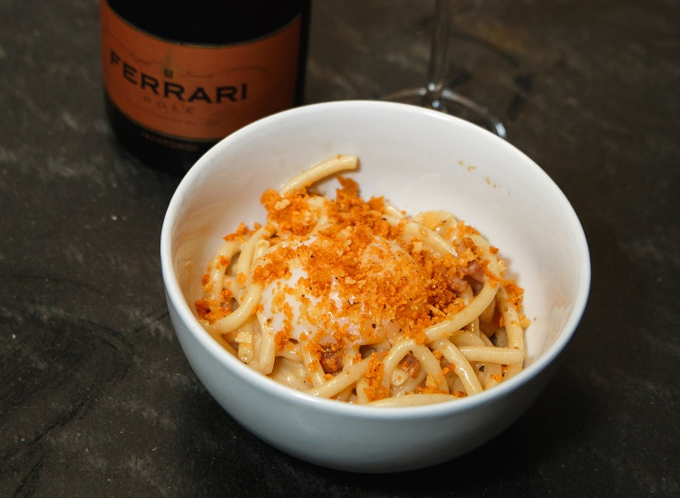 Bucatini alla Carbonara with Ferrari Trentodoc