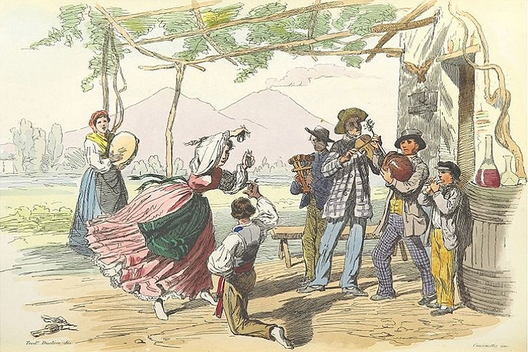 Picture depicting Italians dancing the Tarantella dance