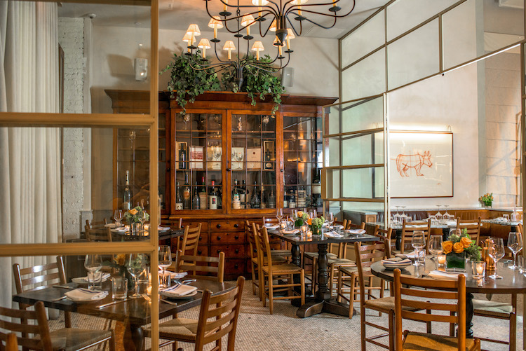 Atmosphere and tables at Manzo, Eataly's casual butcher's restaurant in NYC