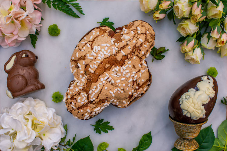 Italian Easter desserts with Colomba and chocolates