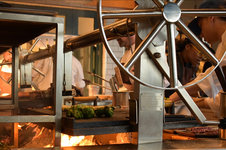 The grill at Terra, Eataly's rooftop restaurant in Los Angeles