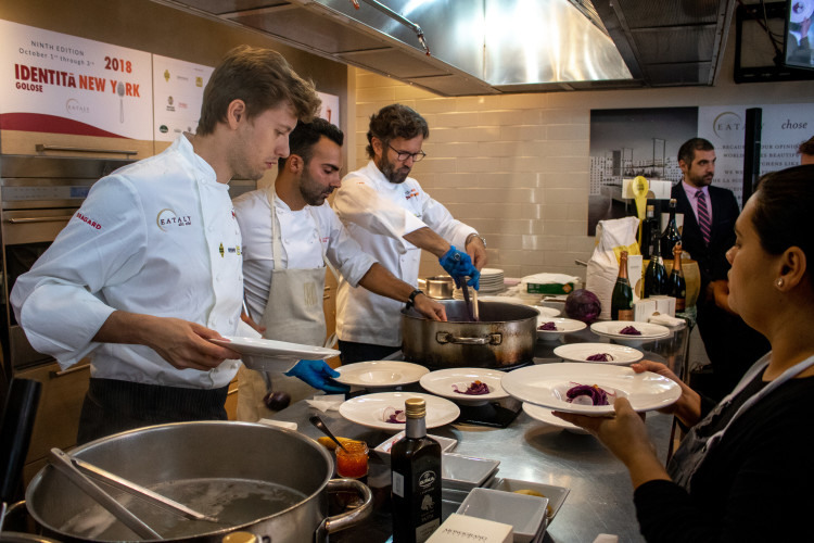 Carlo Cracco cooking pasta at Eataly Flatiron in New York