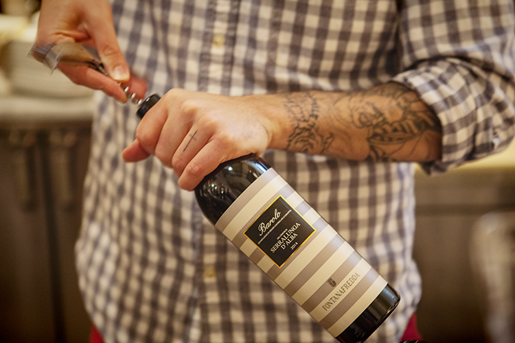 Barolo bottle opening at Eataly