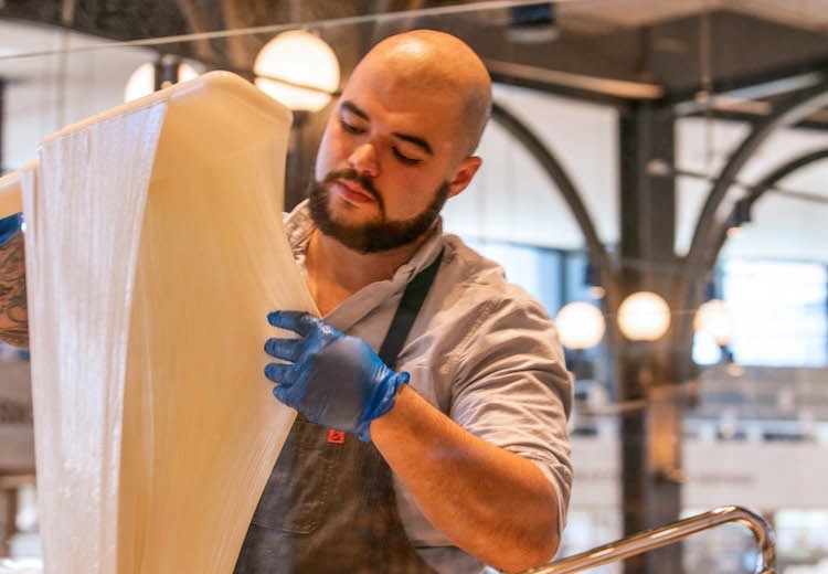 mozzarella made in-house at Eataly