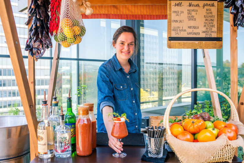 Bloody Mary Bar at Terra, Eataly's rooftop bar and restaurant in Los Angeles
