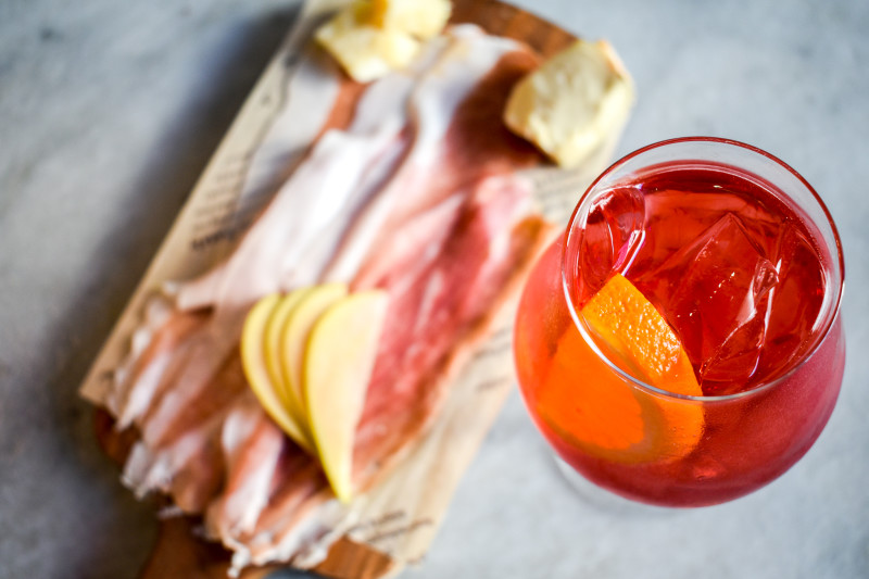 Spritz cocktail and meat and cheese board at Eataly Los Angeles