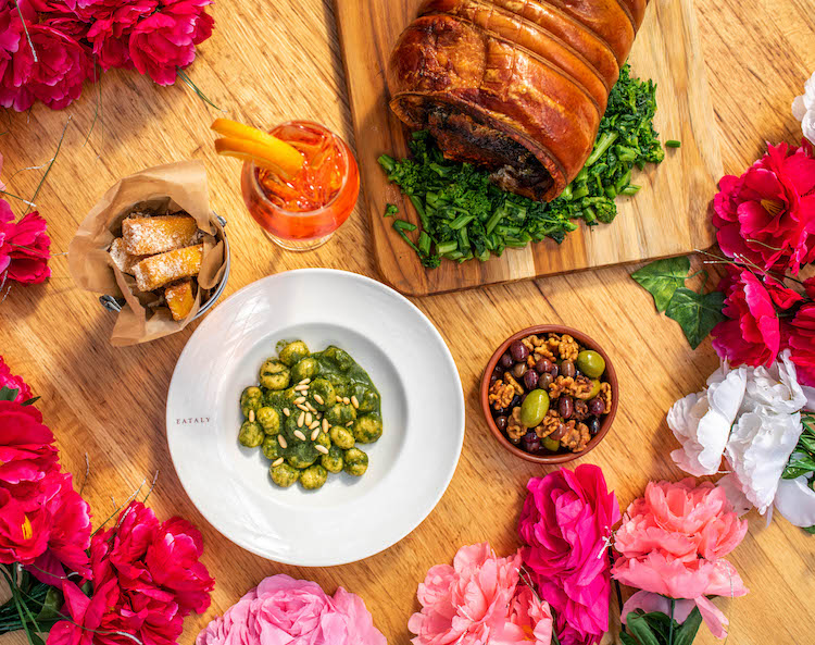 Dishes at Serra Fiorita, Eataly's springtime rooftop restaurant in NYC