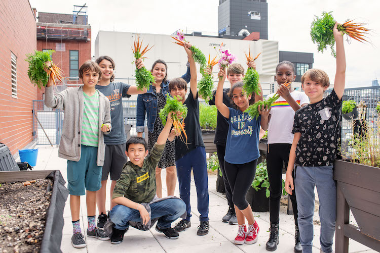 Kids urban gardening club, part of the Seed to Plate initiative by GrowNYC