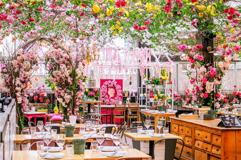 "The atmosphere at Serra Fiorita, the spring ""greenhouse"" version of Eataly's seasonal rooftop restaurant in NYC"