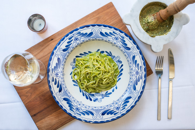 Pasta, mortar and pestle to make better pesto