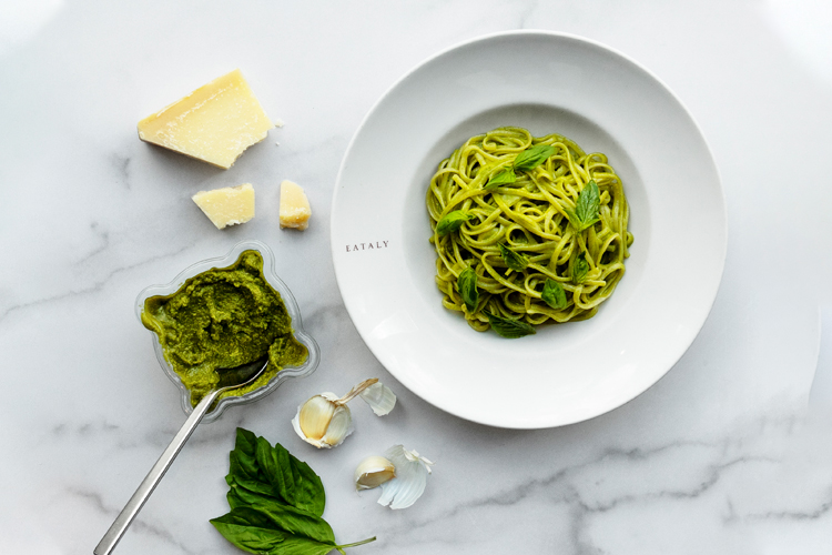 pasta with pesto at Eataly