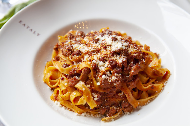 Tagliatelle with meat ragu at Eataly