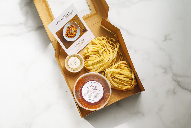 tagliatelle alla bolognese meal kit at Eataly