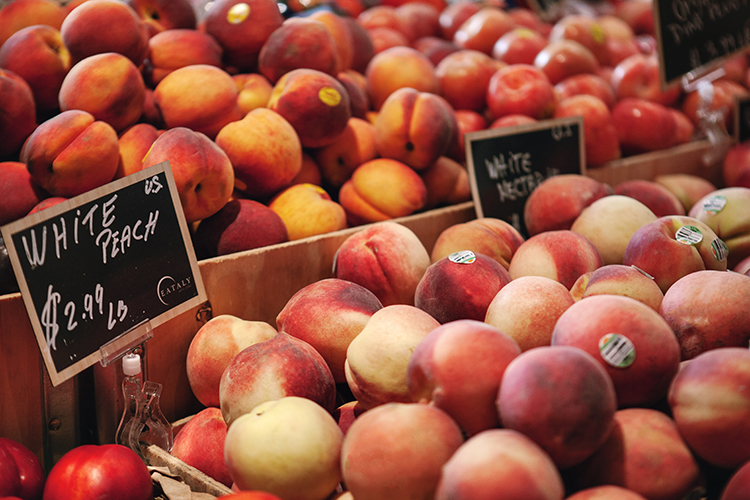 summer produce on sale at Eataly