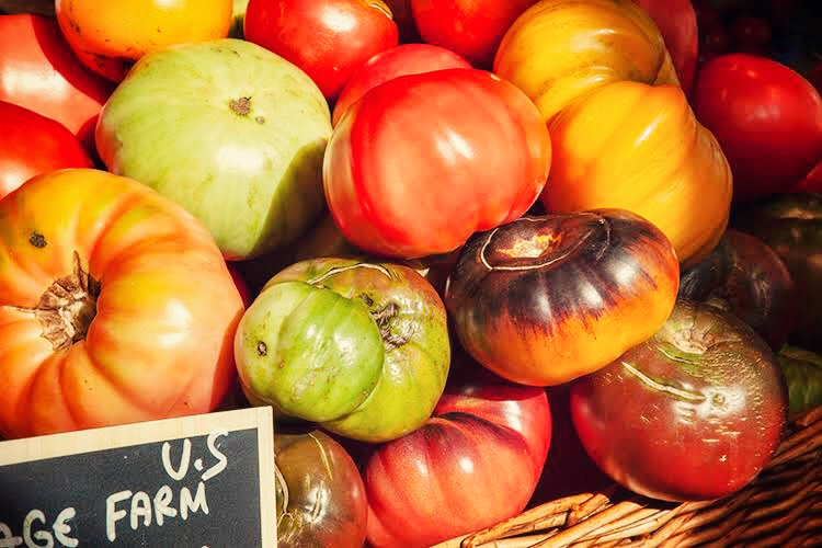 heirloom tomatoes on sale at Eataly