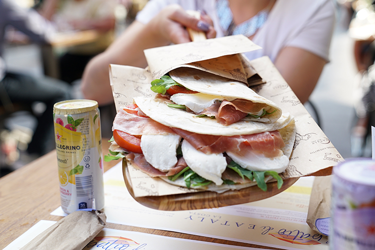 Piadina with prosciutto at Eataly
