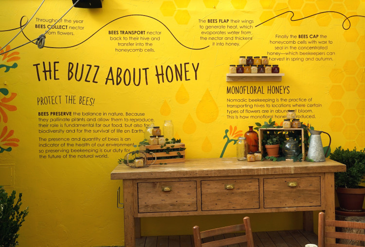 Honey and bees decor Eataly rooftop restaurant