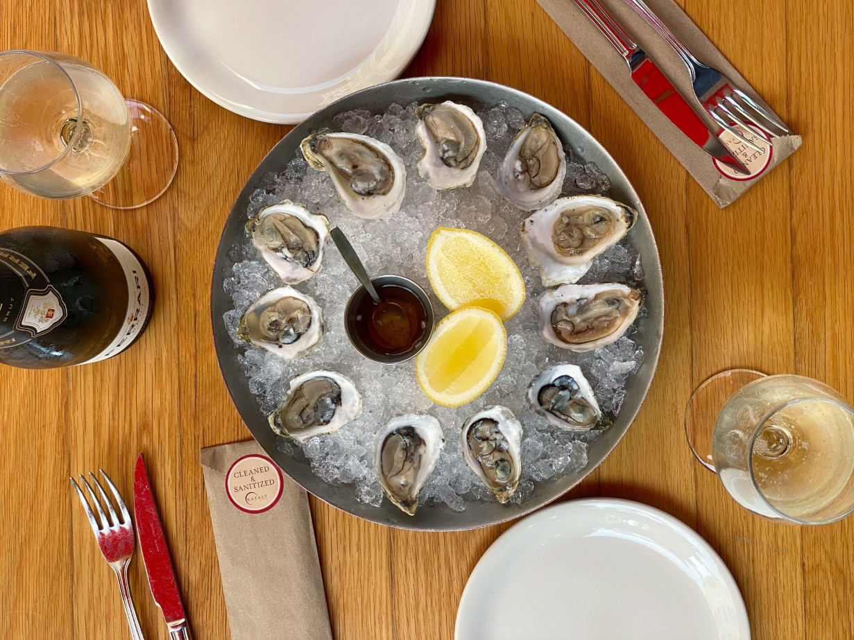 Oysters and Sparkling Wine at Eataly Patio Chicago